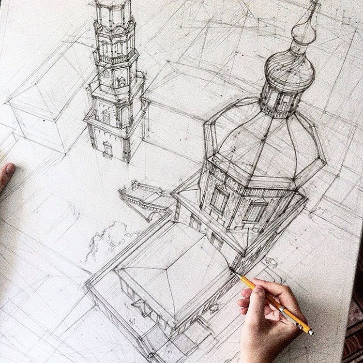 Freehand architectural sketches demonstrate immense skill for How to draw architectural plans by hand