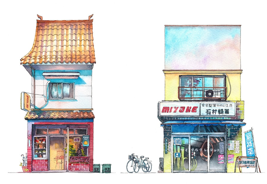 tokyo watercolor illustrations