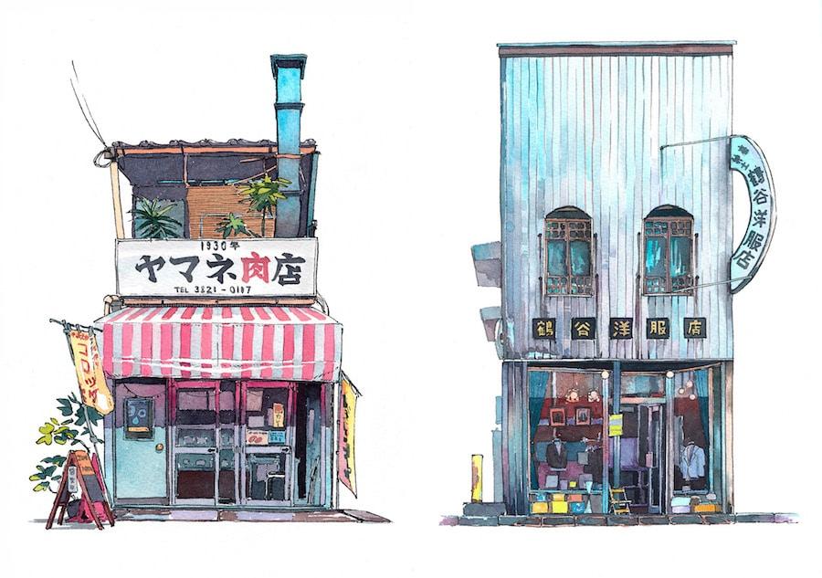 tokyo watercolor sketches