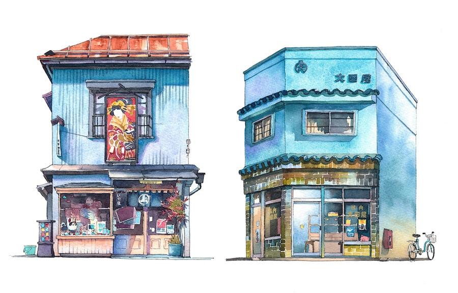 tokyo storefront illustrations
