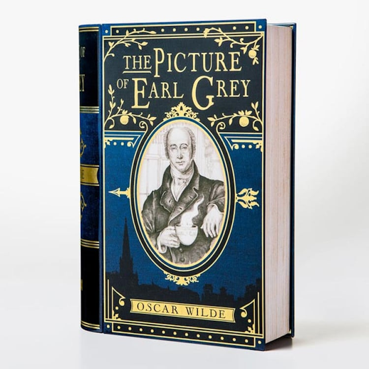 picture of earl grey book-shaped tea tins novelteas puns
