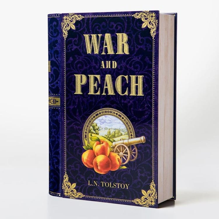 war and peach book-shaped tea tins novelteas puns