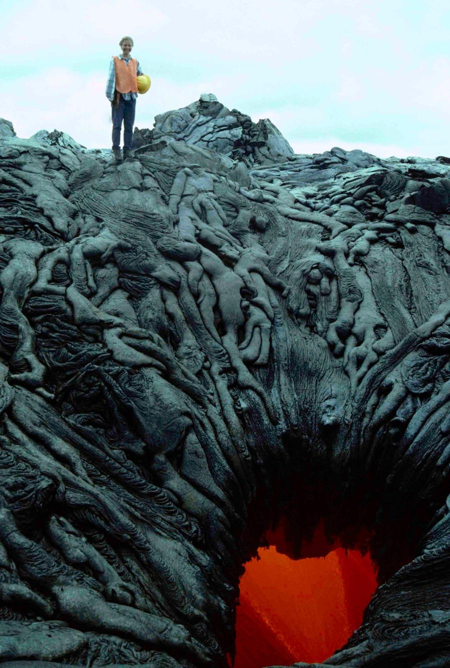 strange lava formations in West Kamokuna skylight