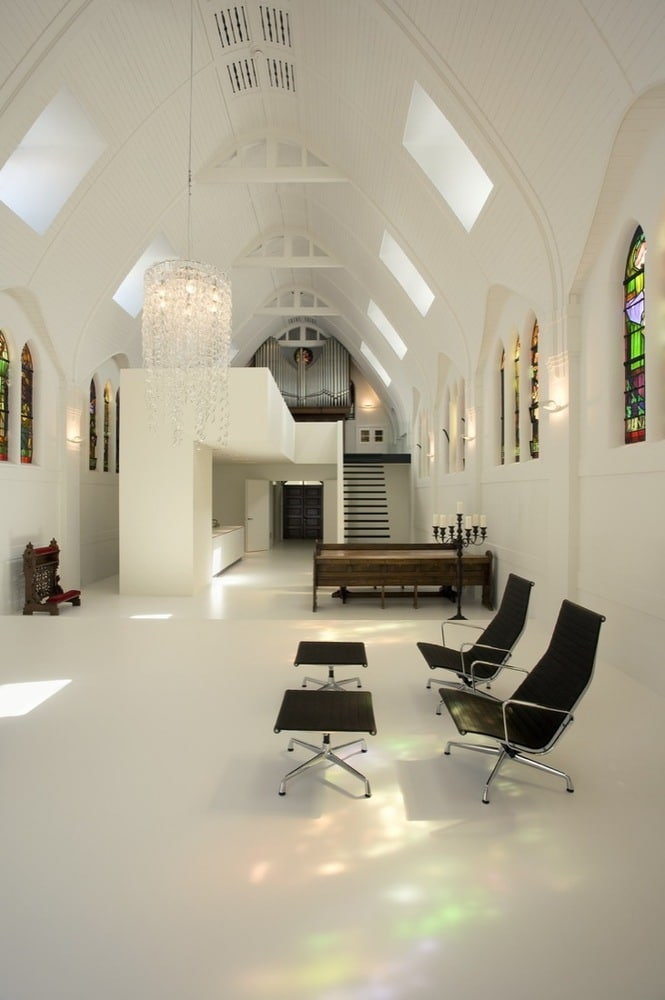 White Interior Concept Of Converted Church Home