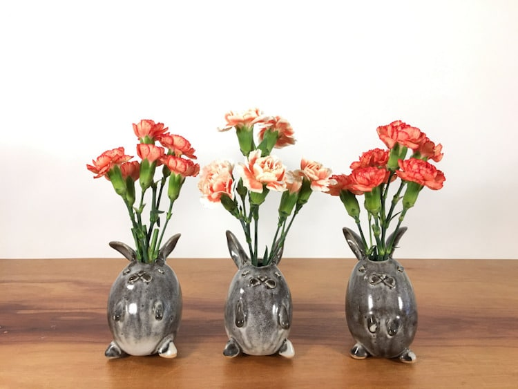 rabbit animal air plant vases Yoshiko Kozawa studio giverny etsy plants