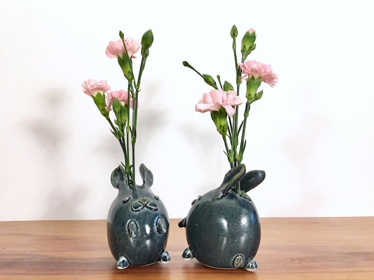 rabbit animal air plant vases Yoshiko Kozawa studio giverny etsy plants