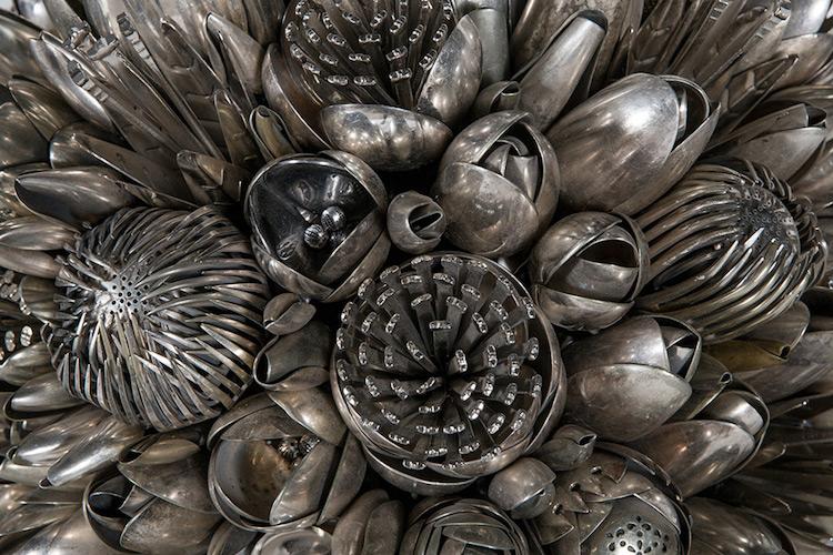 ann carrington utensil bouquets silveware art sculpture flowers