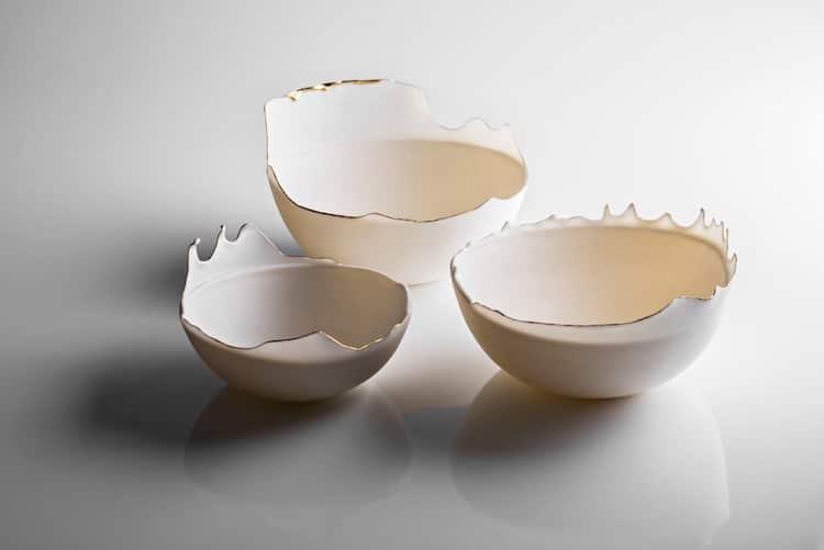 Delicate Ceramic Bowls Capture Splatters Frozen in Time