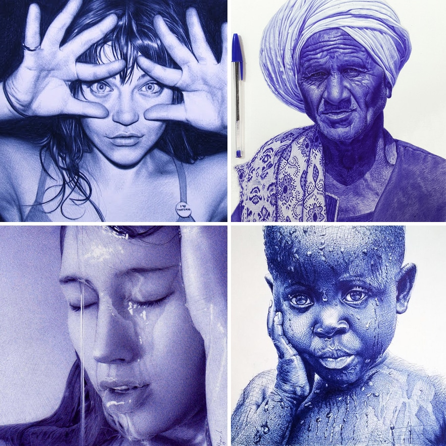 20 unbelievable photorealistic portraits drawn with a ballpoint pen