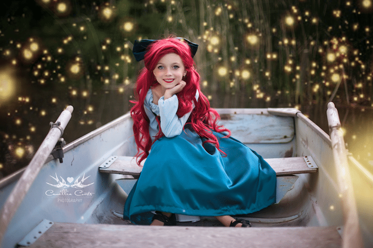 ariel camillia courts the magical world of princesses disney princess photo shoot dress up