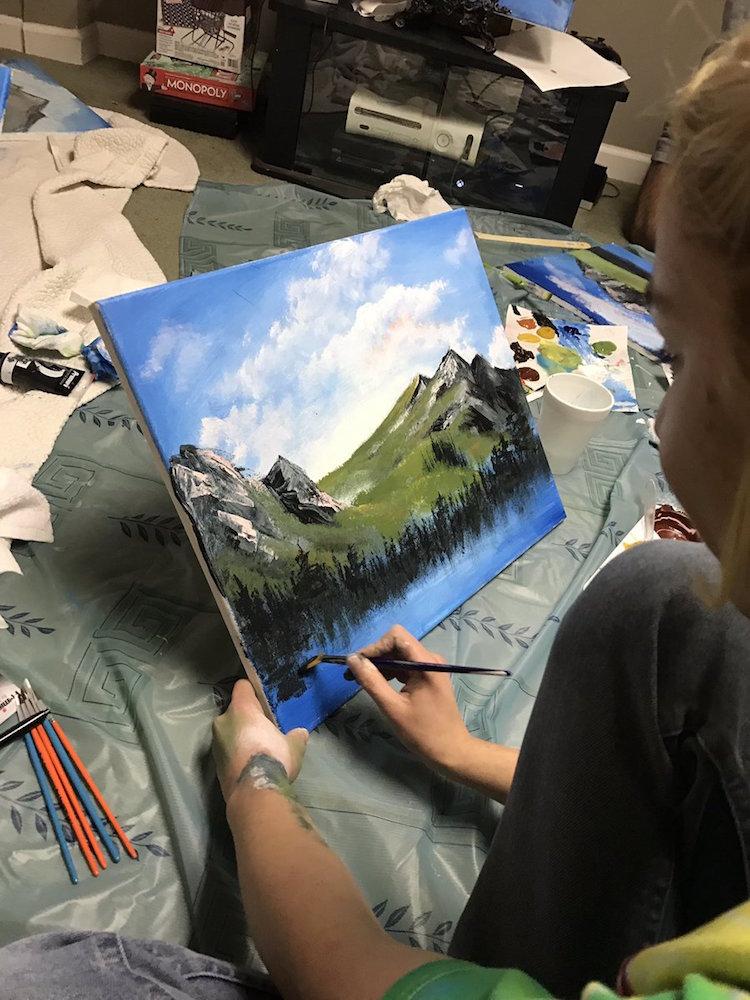 bob ross painting party joy of painting birthday chris nervegna