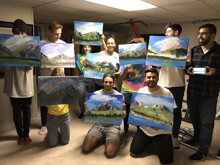 bob ross painting party joy of painting birthday chris nervegna