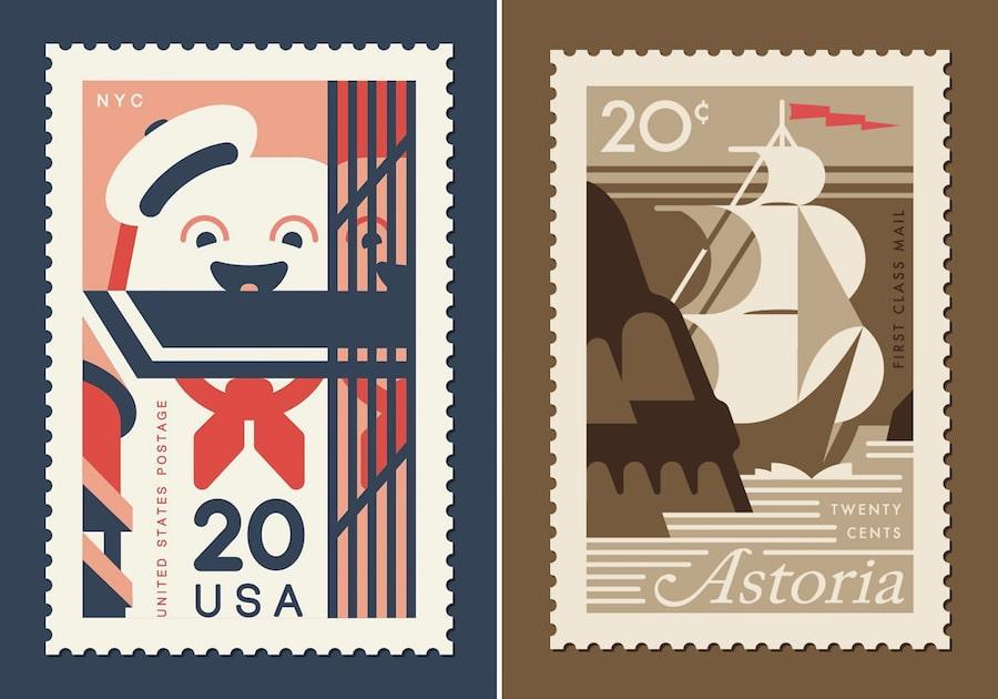 pop culture art prints clark orr postage stamp art