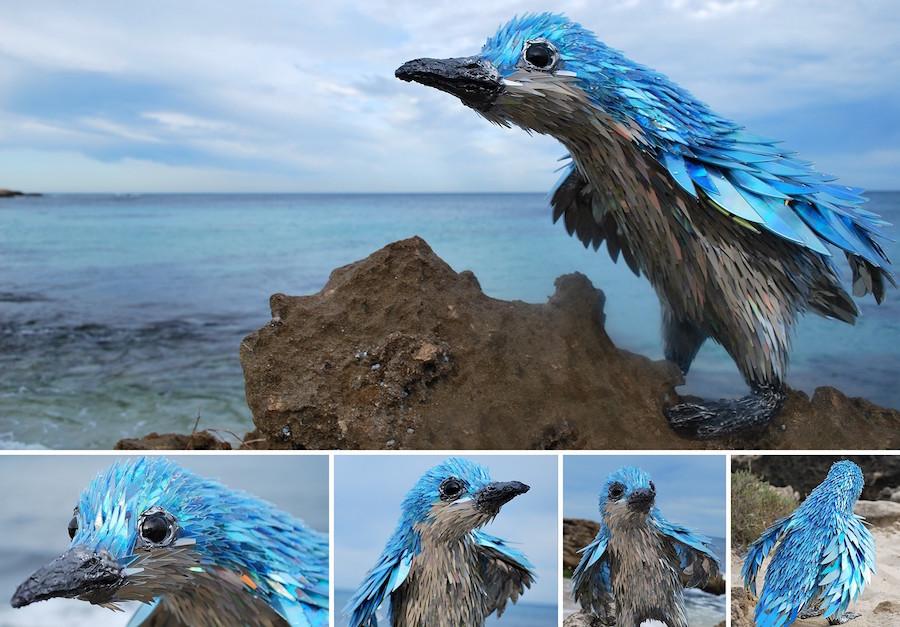 bird sculpture made from repurposed materials