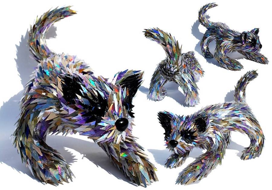cat sculpture made from recycled cds