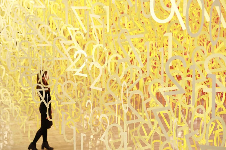 Forest of Numbers by Emmanuelle Moureaux paper art installation national art center of tokyo