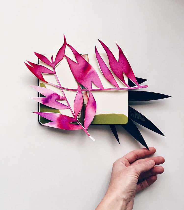 eva magill oliver blooming sketchbooks pop-up collages