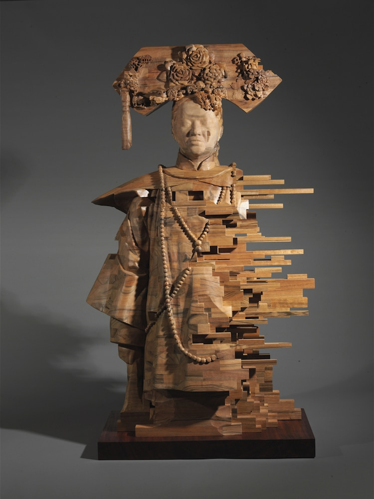 Wood Sculptures By Hsu Tung Han Seem Like Pixelations