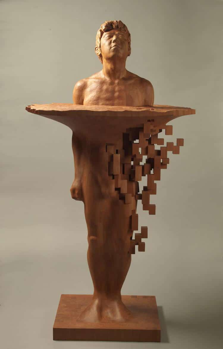 pixelated wood sculpture hsu tang han