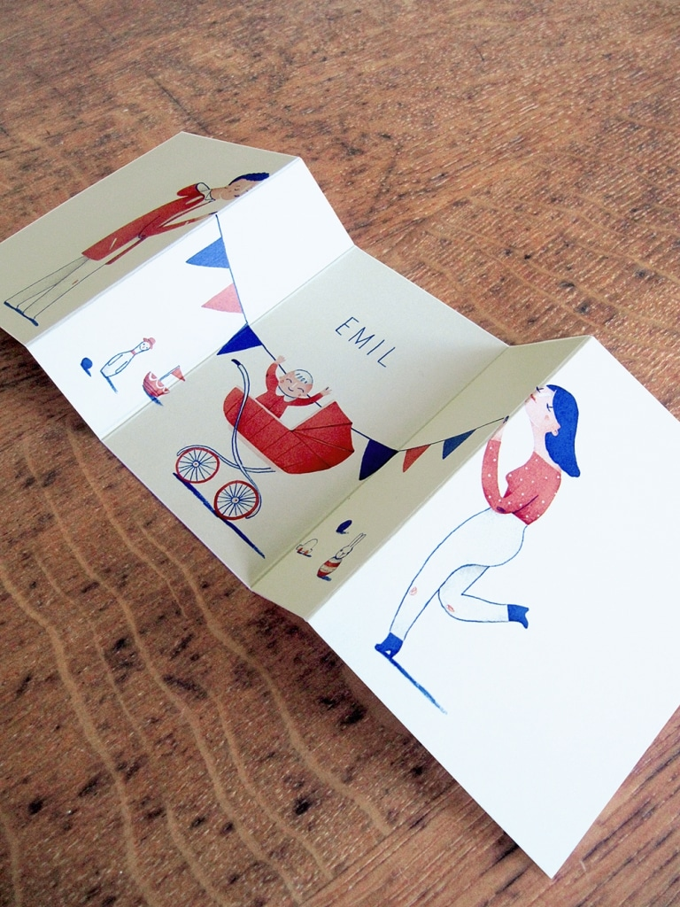Jacques and Lise Unfolding Birth Announcements pop-up baby cards