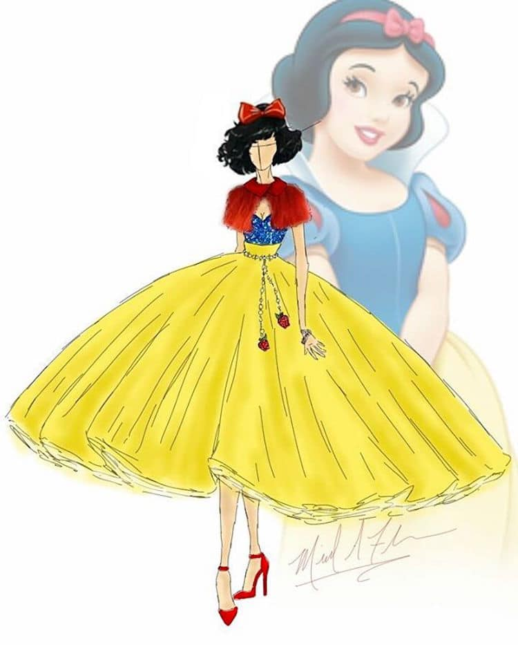 michael anthony couture disney princesses dibujo blancanieves