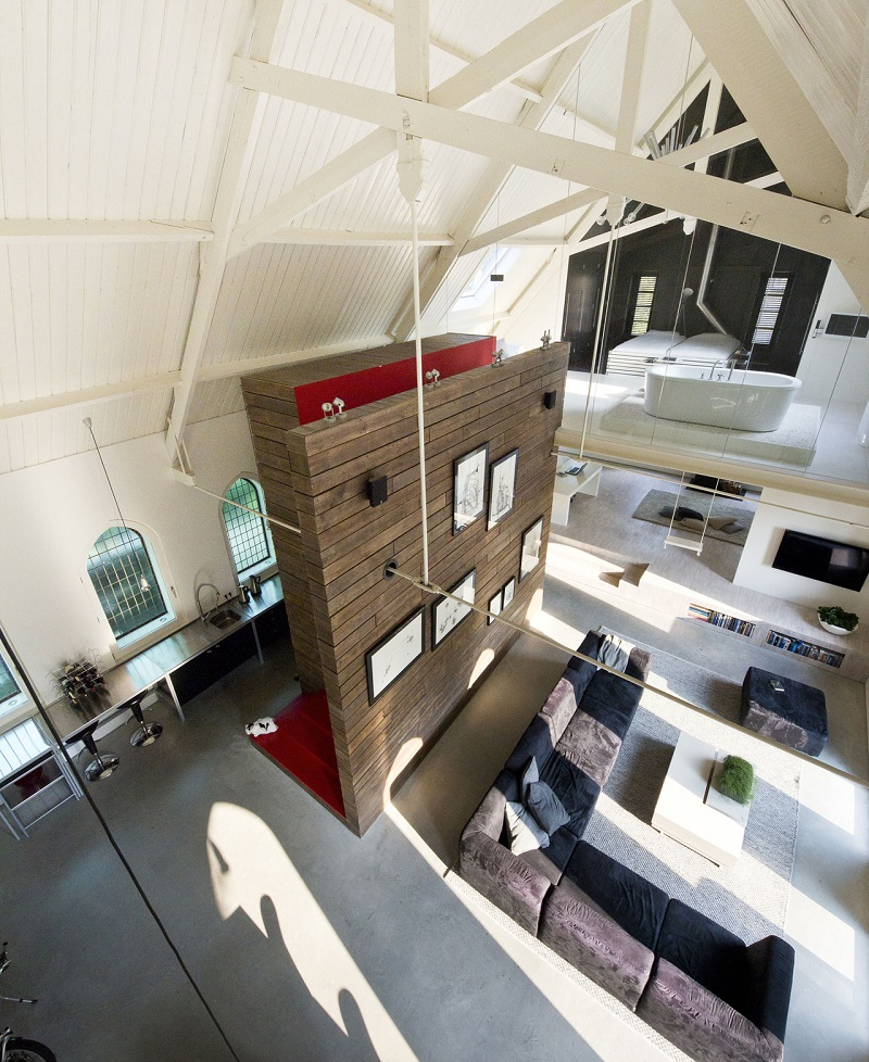 Open Concept Interior Of Converted Church Home