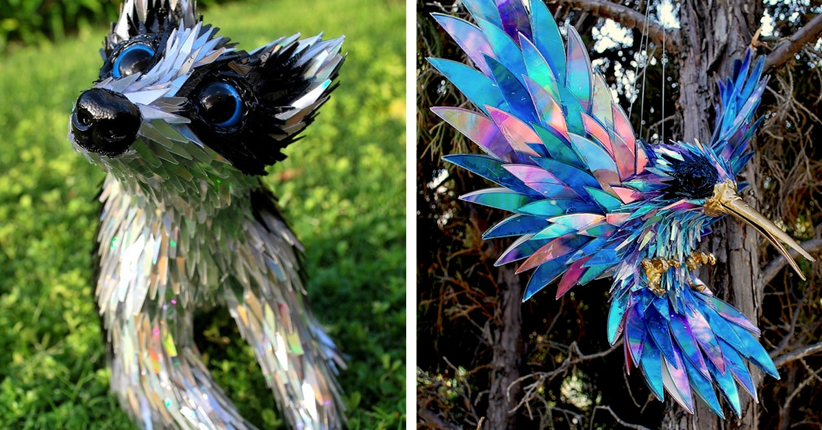 adorable animal sculptures are actually pieces of recycled art