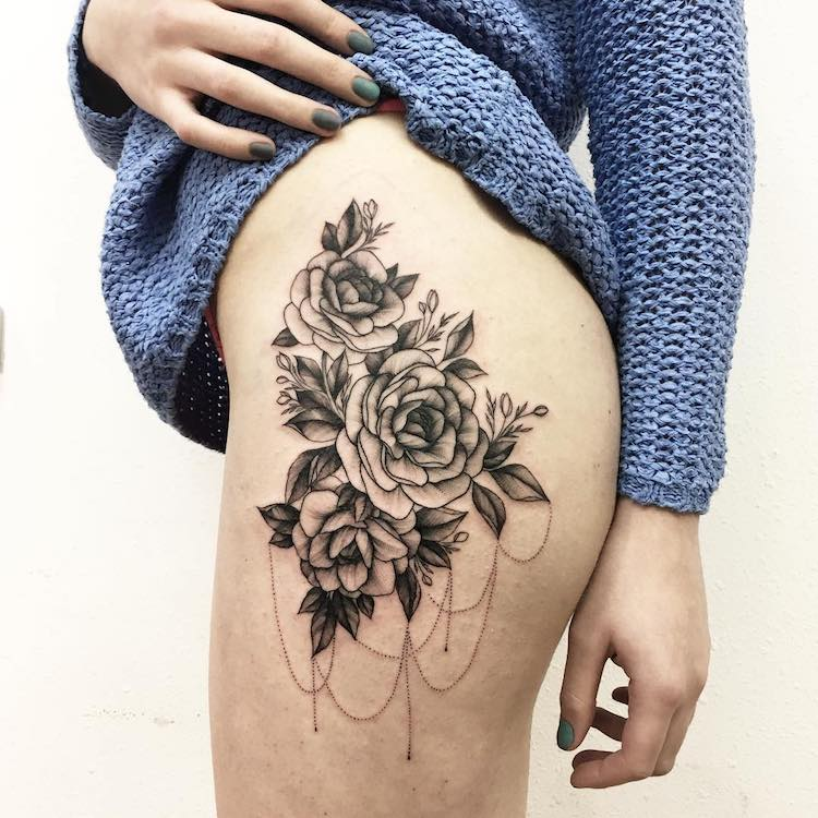 bold flower tattoos celebrate the delicate strength of beautiful blooms. Black Bedroom Furniture Sets. Home Design Ideas