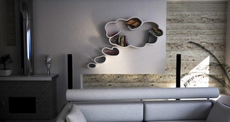 unique bookcases creative bookshelves books design graphic shape cloud thought bubble