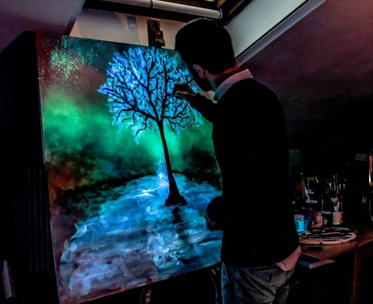glow in the dark painting crisco art