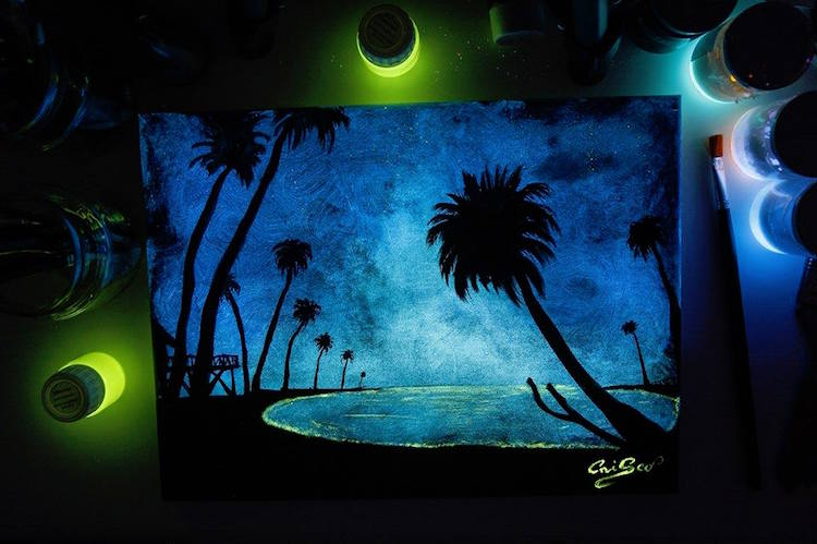 glow in the dark art crisco art