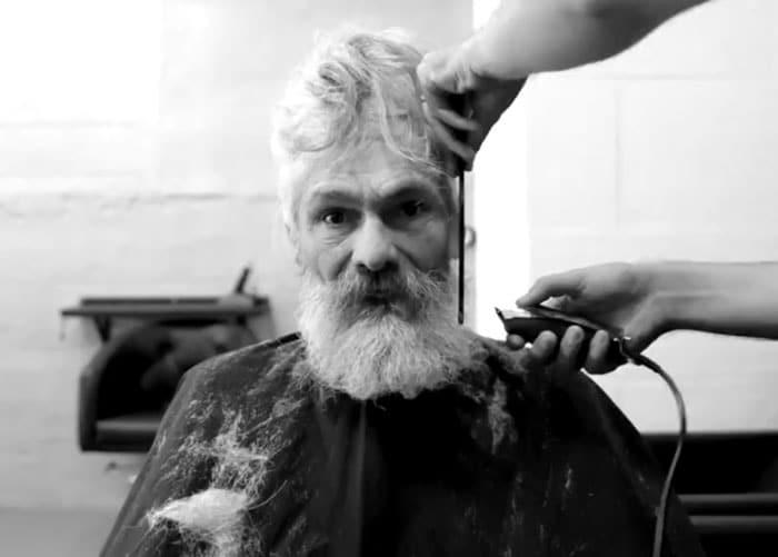 homeless man makeover