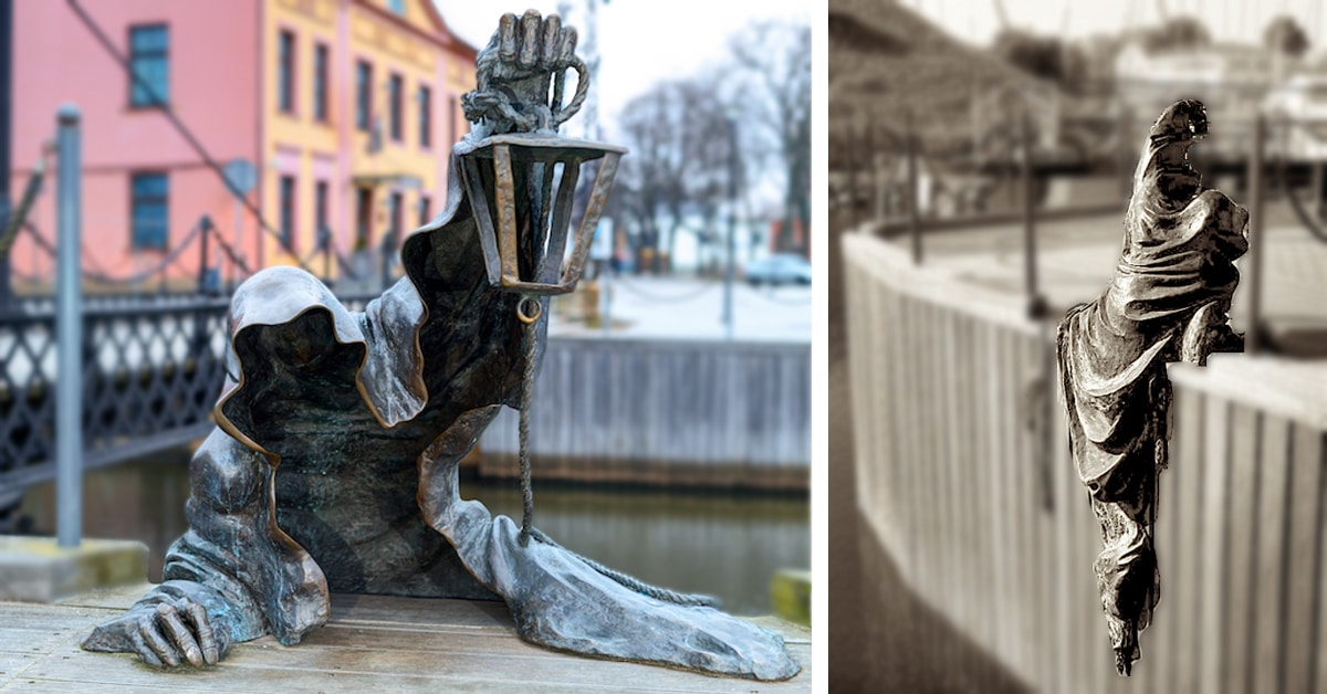 Creepy Ghost Statue in Lithuania Looks Like It's Crawling Out of the Water