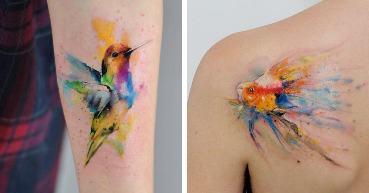 717a8dbcc Delicate Watercolor Tattoos Look Like Beautiful Paintings on Skin