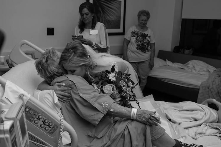 hospital wedding party visit grandma tyler brown jessica brown amanda brown photography inspiring stories bride groom wedding