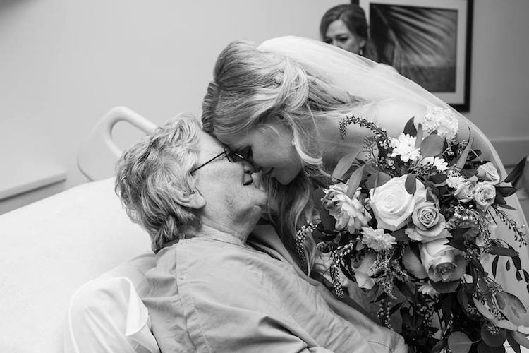 hospital wedding party visit grandma tyler brown jessica brown amanda brown photography inspiring stories bride groom wedding