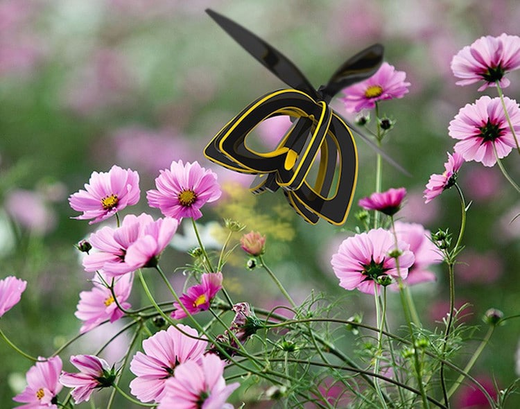 plan bee drone designed like black and yellow flowers