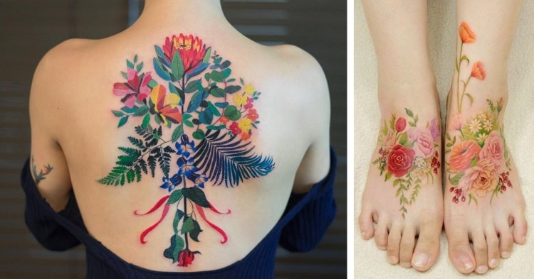 244f29d28 best floral tattoos best floral tattoo artists design flower tattoos  botanical tattoos nature tattoos
