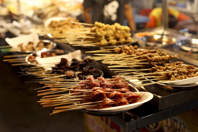 malaysia meat skewers late night snacks