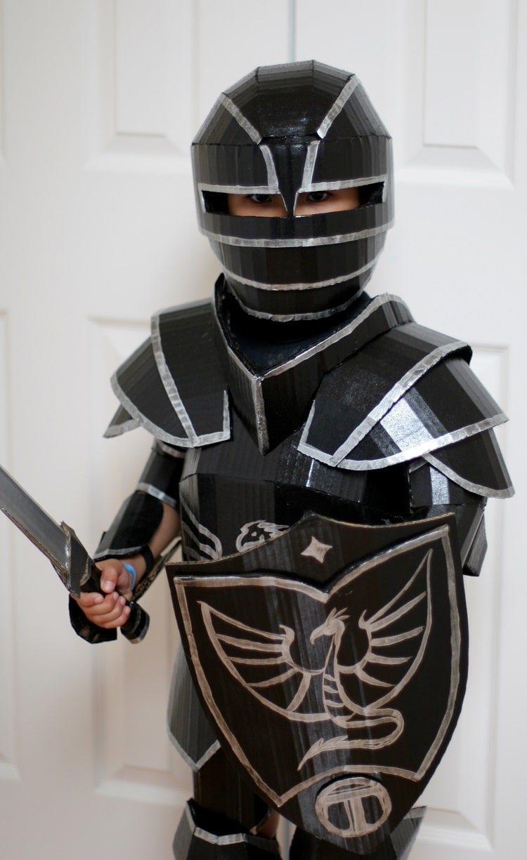 kid's cardboard knight costume