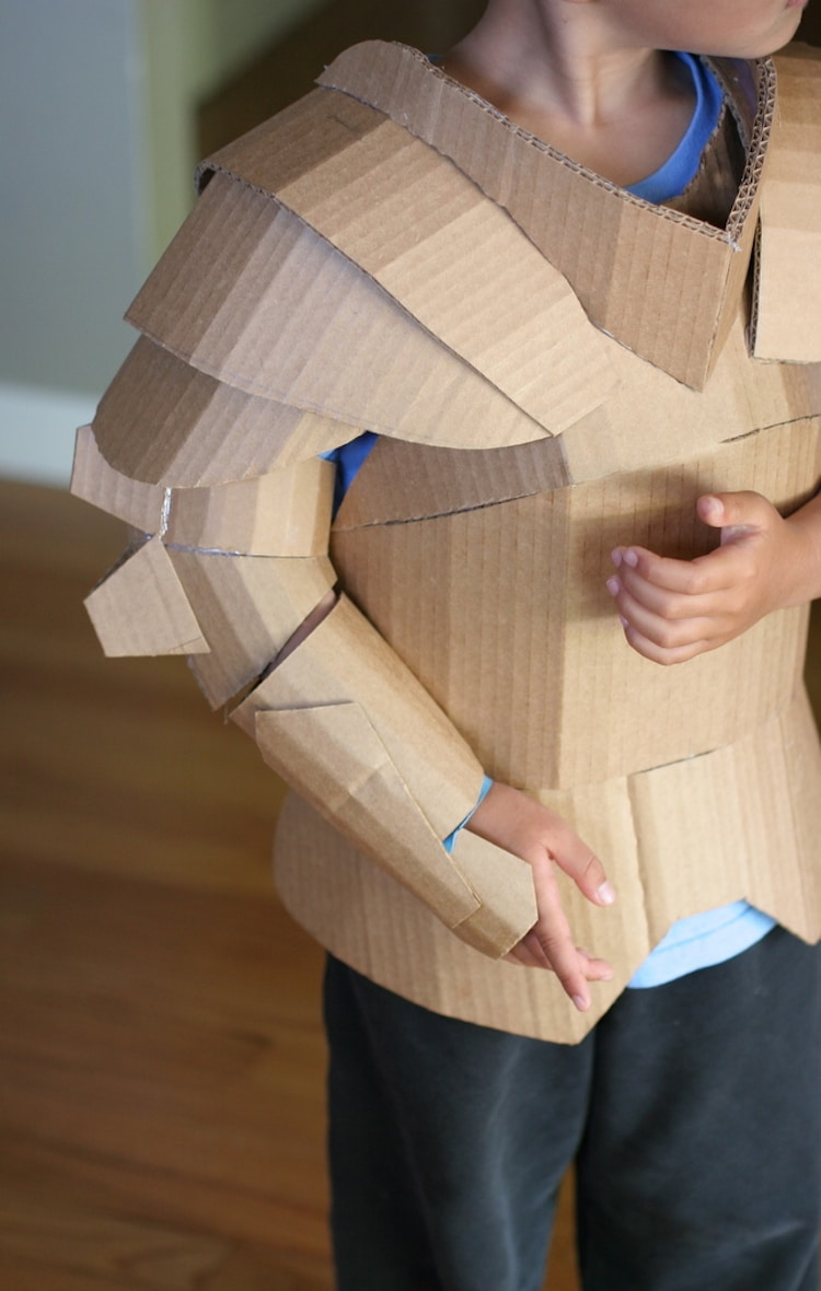 Fantastical cardboard costume diy turns boxes into knight for Cardboard armour template
