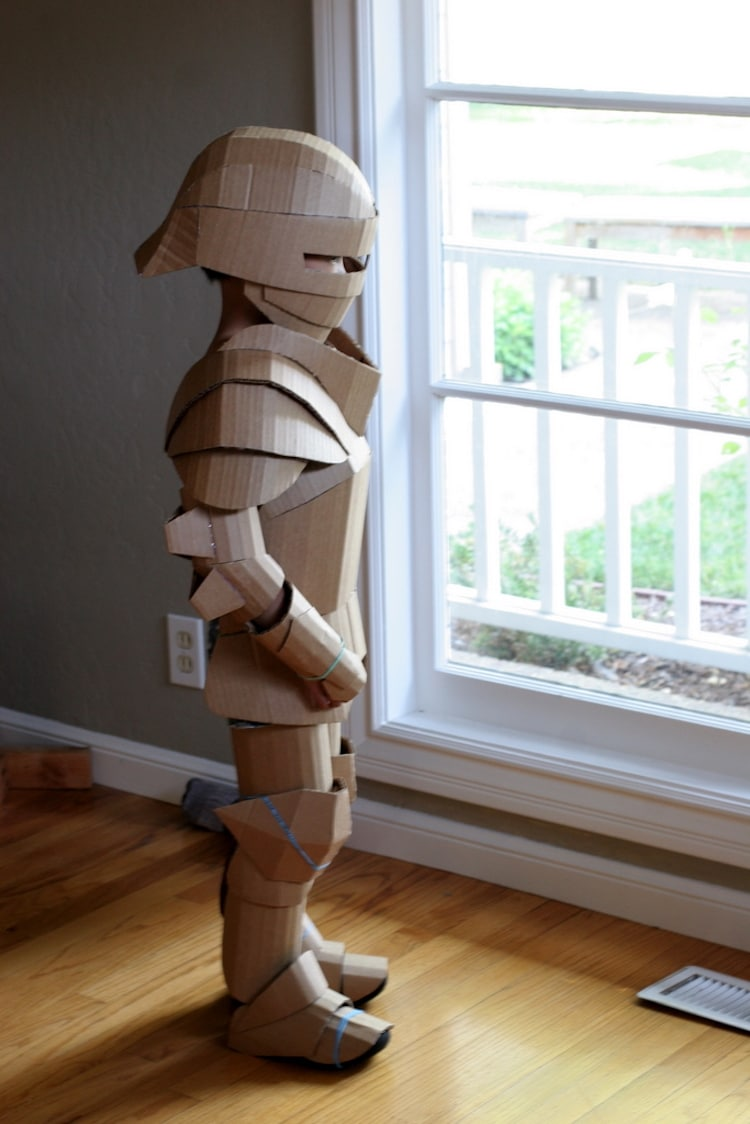Fantastical Cardboard Costume Diy Turns Boxes Into Knight