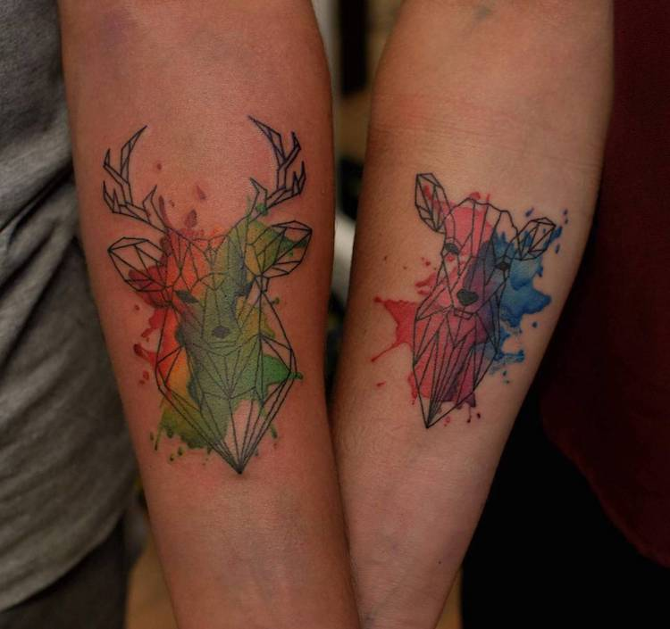 watercolor style couple tattoo