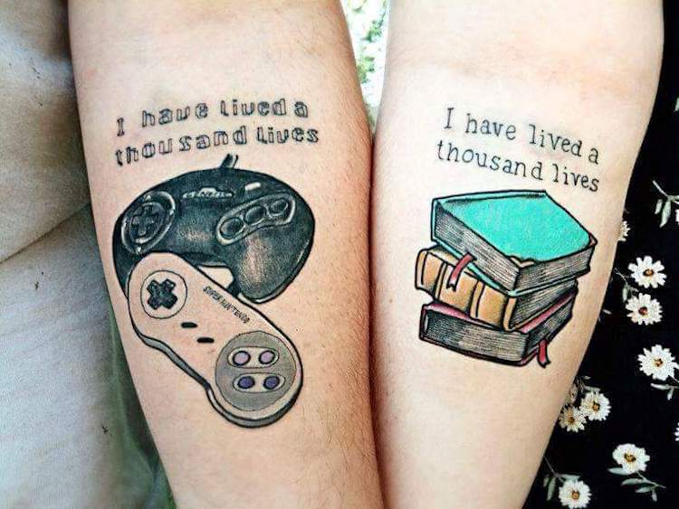 minimalist couple tattoos