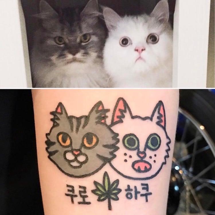 kiran cartoon inspired pet tattoos animals cute body art