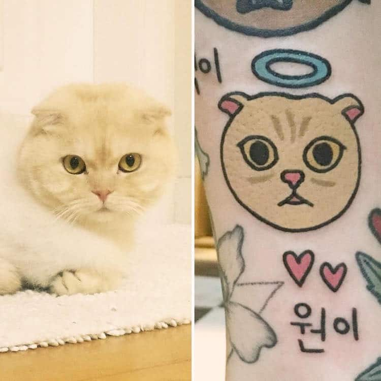 jiran cartoon inspired pet tattoos animals cute body art