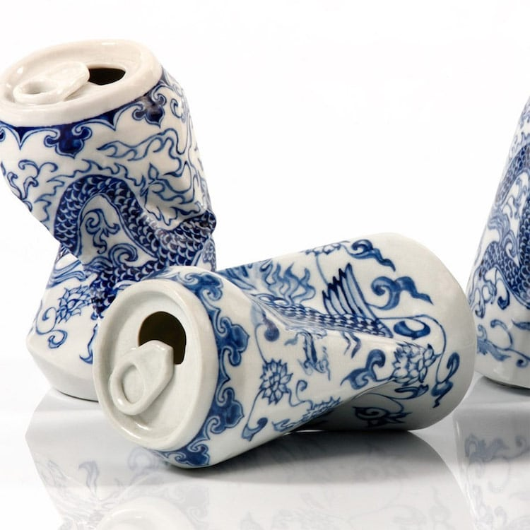 drinking tea lei xue can sculptures ming dynasty chinese porcelain porcelain cans