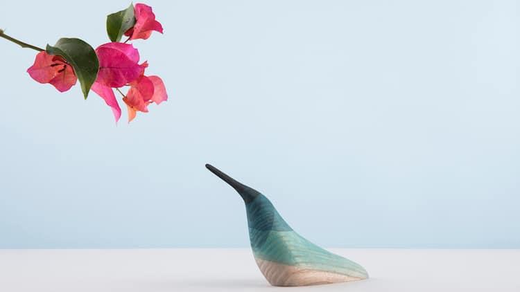 ed birds moises hernandez minimalist wooden sculptures hummingbird