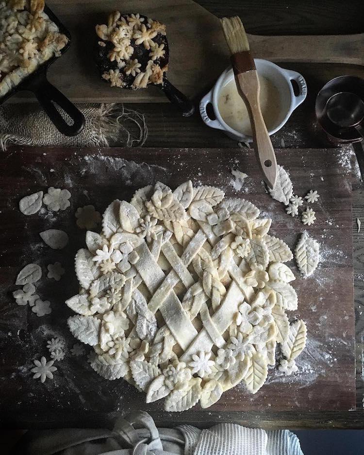 Pi Day creative pie crusts Salted Caramel Pear Pie by Judy Kim