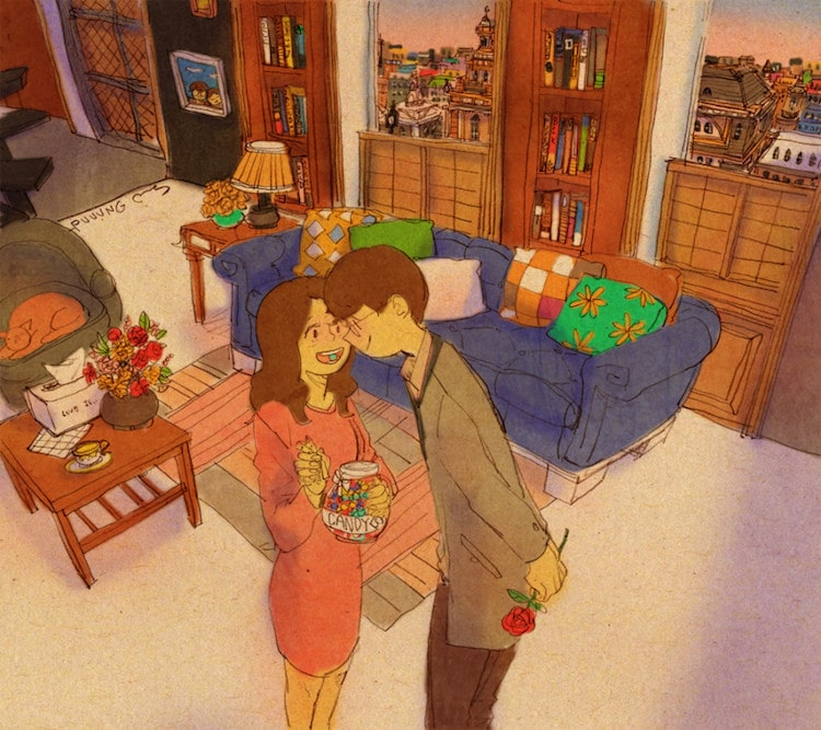 love is puuung watercolor painting couple relationship romance illustration